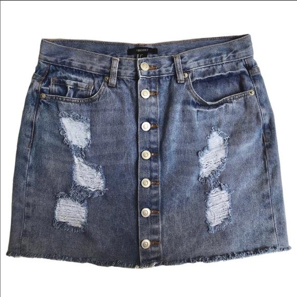 Forever 21 Dresses & Skirts - Forever 21 blue denim-faded wash mini skirt.